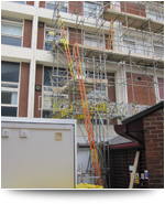 Domestic Scaffolding Tower Outside Flats in Northampton